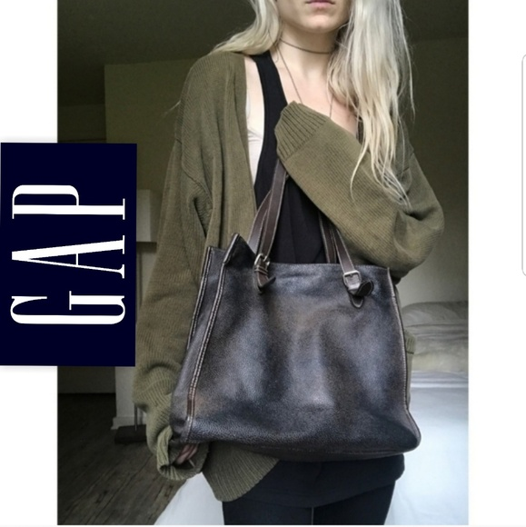GAP Handbags - 💋 Gap Vtg Distressed Black Brown Bag Purse Tote